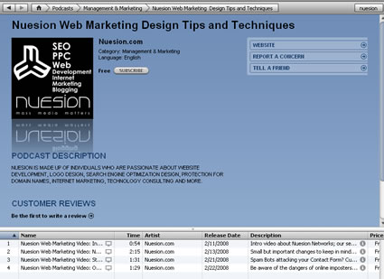Nuesion Web Marketing & Development Video Podcast now available on iTunes